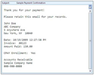sample payment confirmation